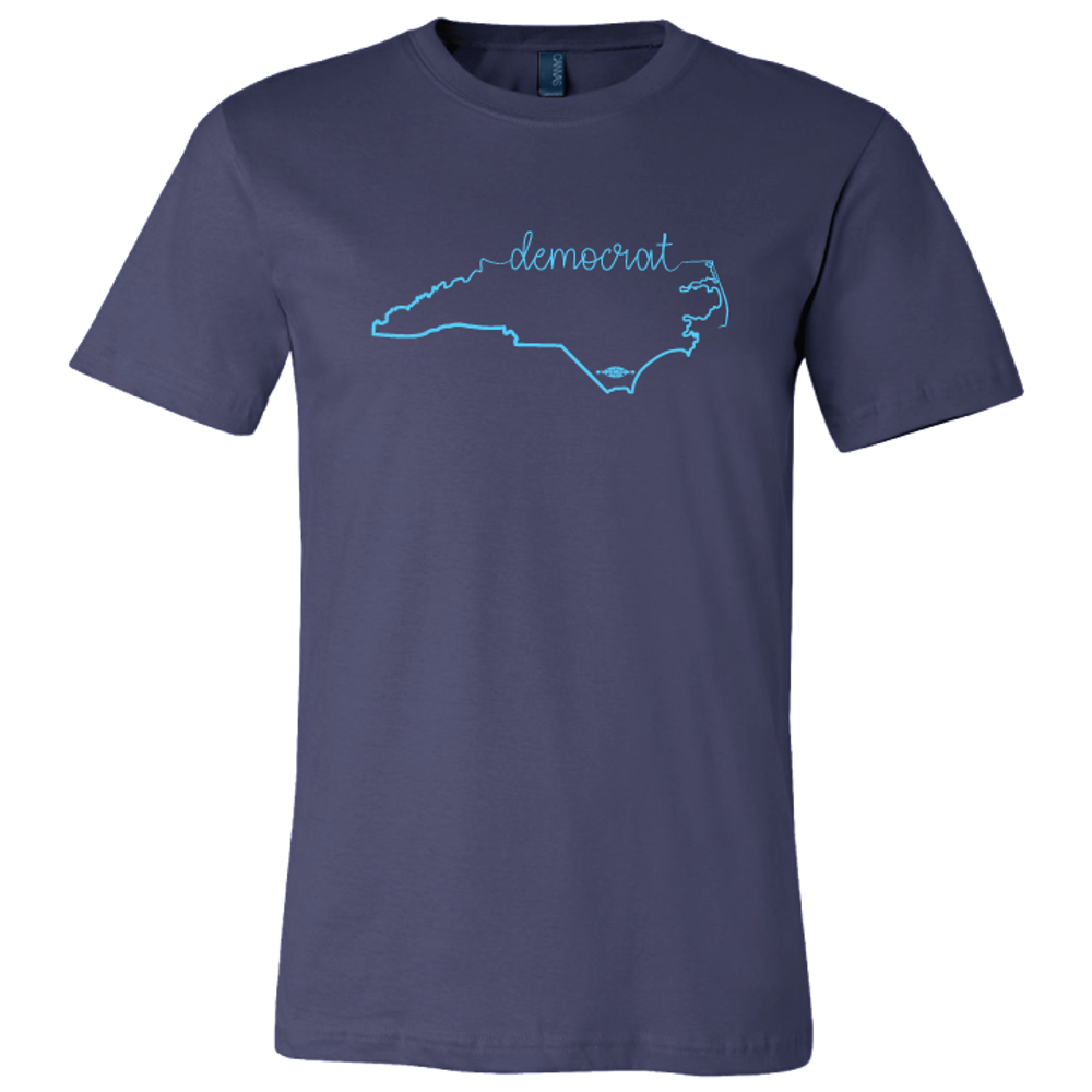 Cursive Democrat NC State Graphic (on Navy Tee)