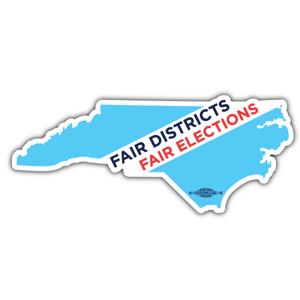 "Fair Districts, Fair Elections (7"" x 3"" Vinyl Sticker -- Pack of Two!)"