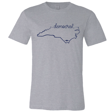 Cursive Democrat NC State Graphic (on Athletic Heather Tee)