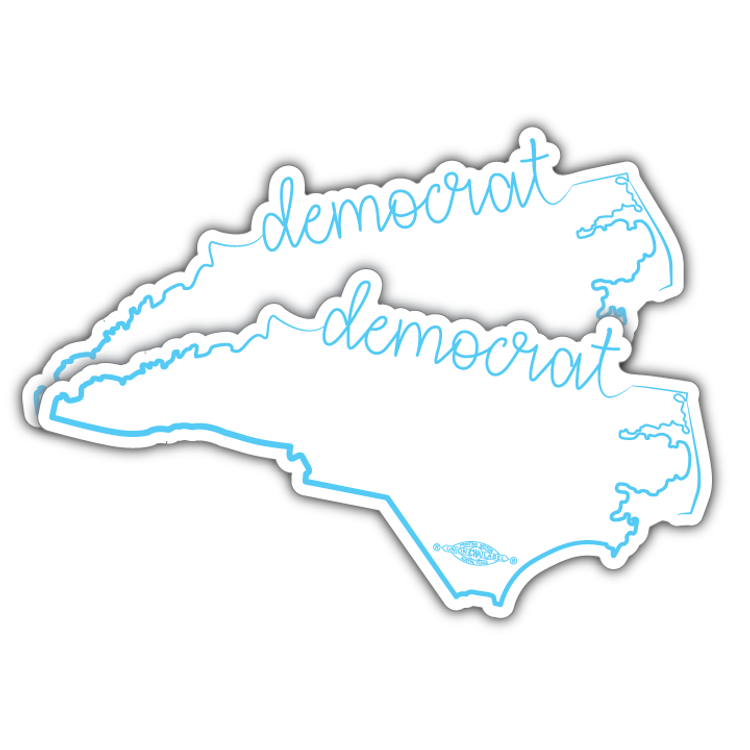"NC Democrat Script  (7"" x 3"" Vinyl Sticker -- Pack of Two!)"
