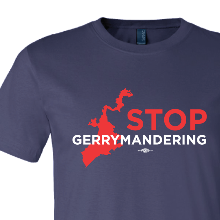 Stop Gerrymandering (on Navy Tee)