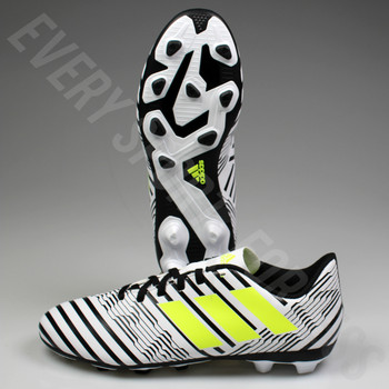 Adidas Nemeziz 17.4 FxG Junior Soccer Cleats - White/Solar Yellow/Core Black