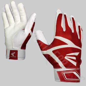 Easton Z3 Hyperskin Senior Baseball / Softball Batting Gloves - White / Red
