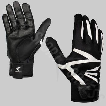 Easton Z3 Hyperskin Senior Baseball / Softball Batting Gloves - Black / Black