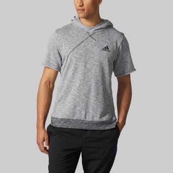 Adidas Cross Up Short Sleeve Hoodie BP7266 - Grey / Black | Front