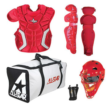AllStar Players Series Youth Baseball Catchers Kit - Scarlet