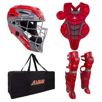 AllStar System 7 Axis Youth Baseball Catchers Kit - Scarlet