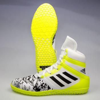 Adidas Impact Men's Wrestling Shoes AQ3321 - White, Black, Yellow
