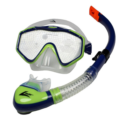 Leader Majorca Senior Mask and Snorkel Combo - Navy/Lime