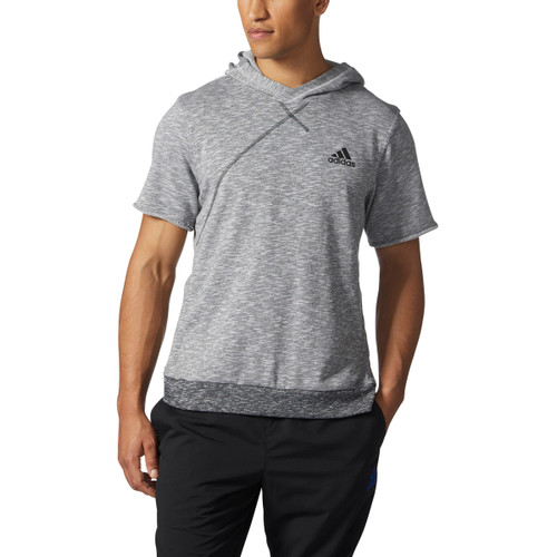 Adidas Cross Up Short Sleeve Hoodie BP7266 - Grey / Black | Front