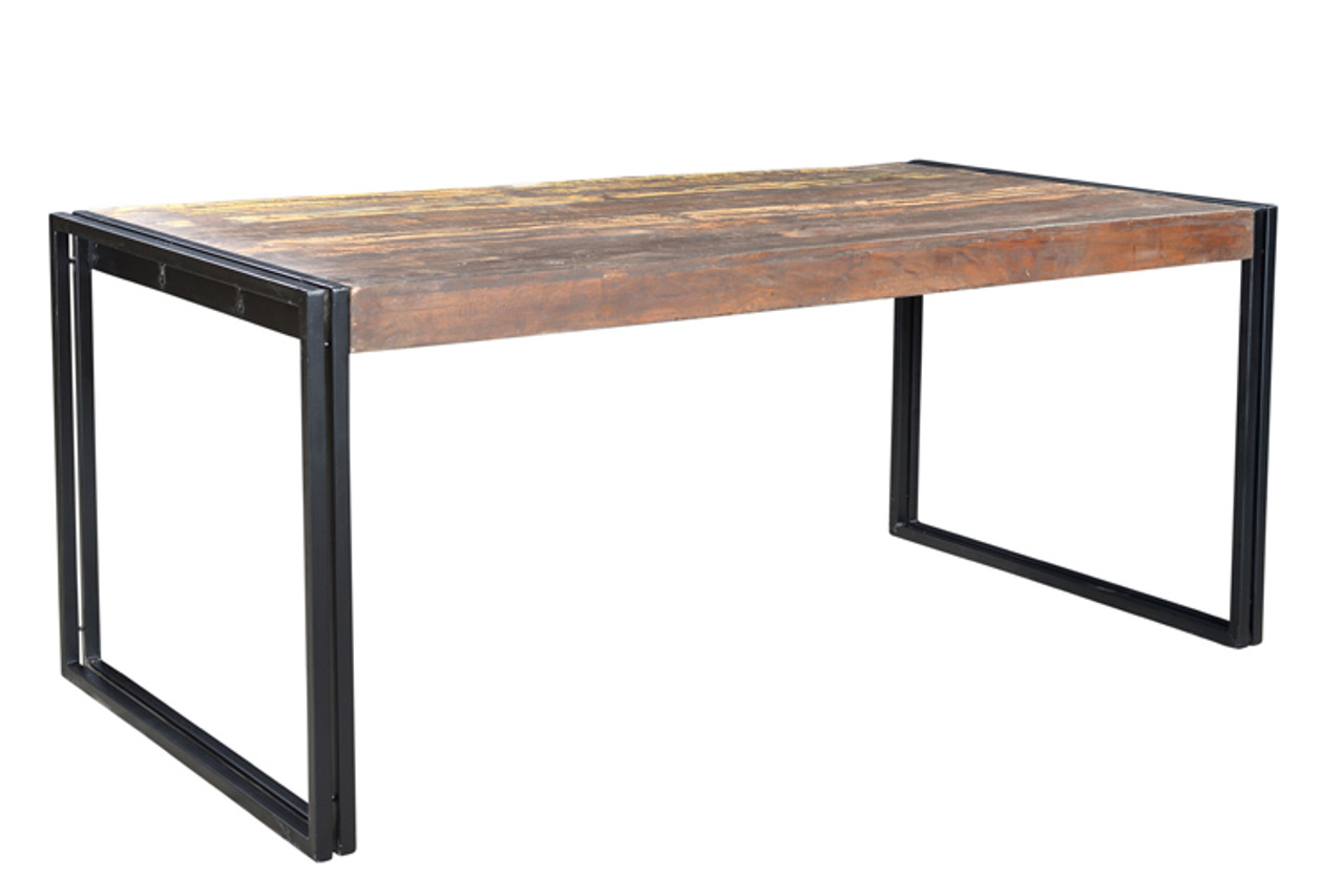 Gentil Solid Old Reclaimed Wood Dining Table With Metal Legs