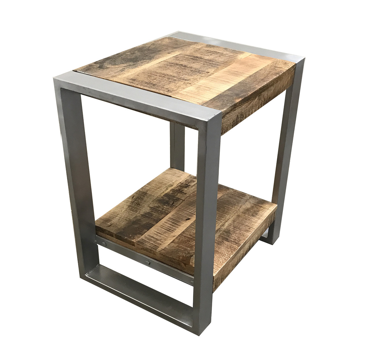 Unique Timbergirl Reclaimed Wood Side Table with Silver legs - Timbergirl FD13