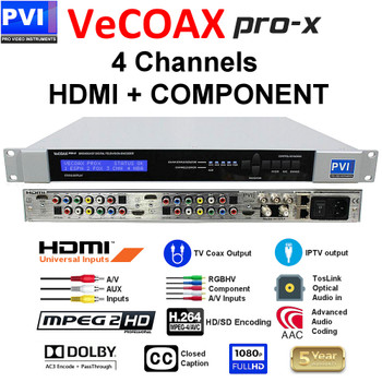 VeCOAX PRO-X-A Four Channel ATSC Modulator with Simultaneous IPTV Outputs