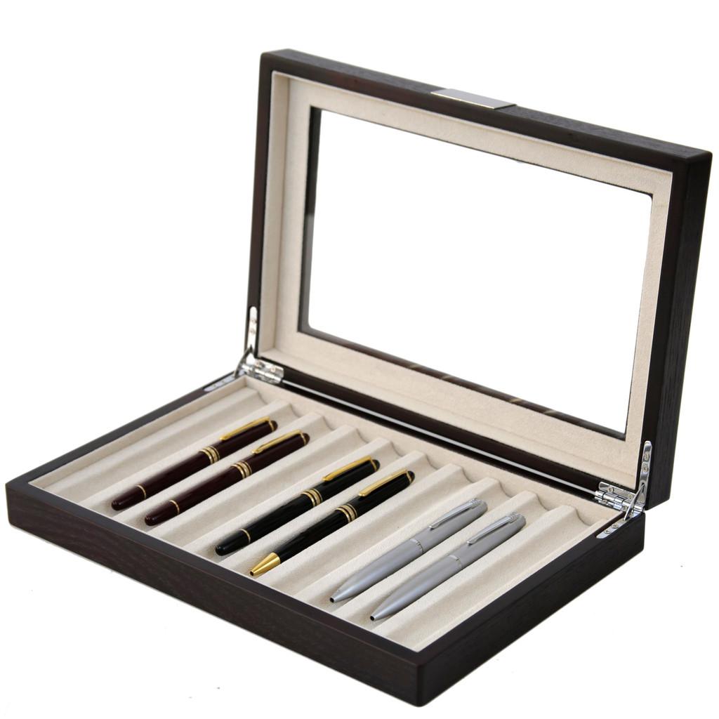 Brown Wood Fountain Pen Case   Mens Luxury Organizers   TechSwiss TSPEN400ESBRN   Open Side View