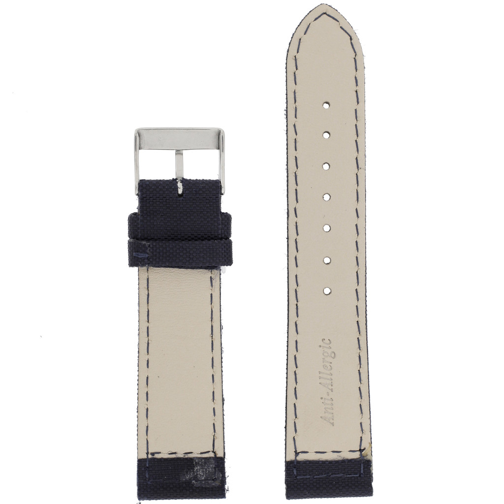 Blue Canvas Watch Band| Navy Water Resistant Watch Strap | TechSwiss LEA1240 | Lining