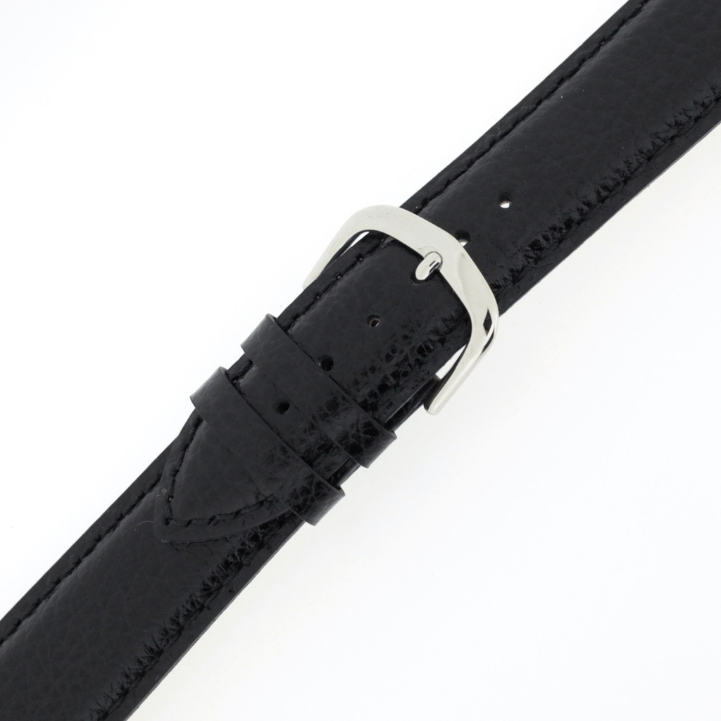 Buckled Black Mens Leather Watch Band LEA1433