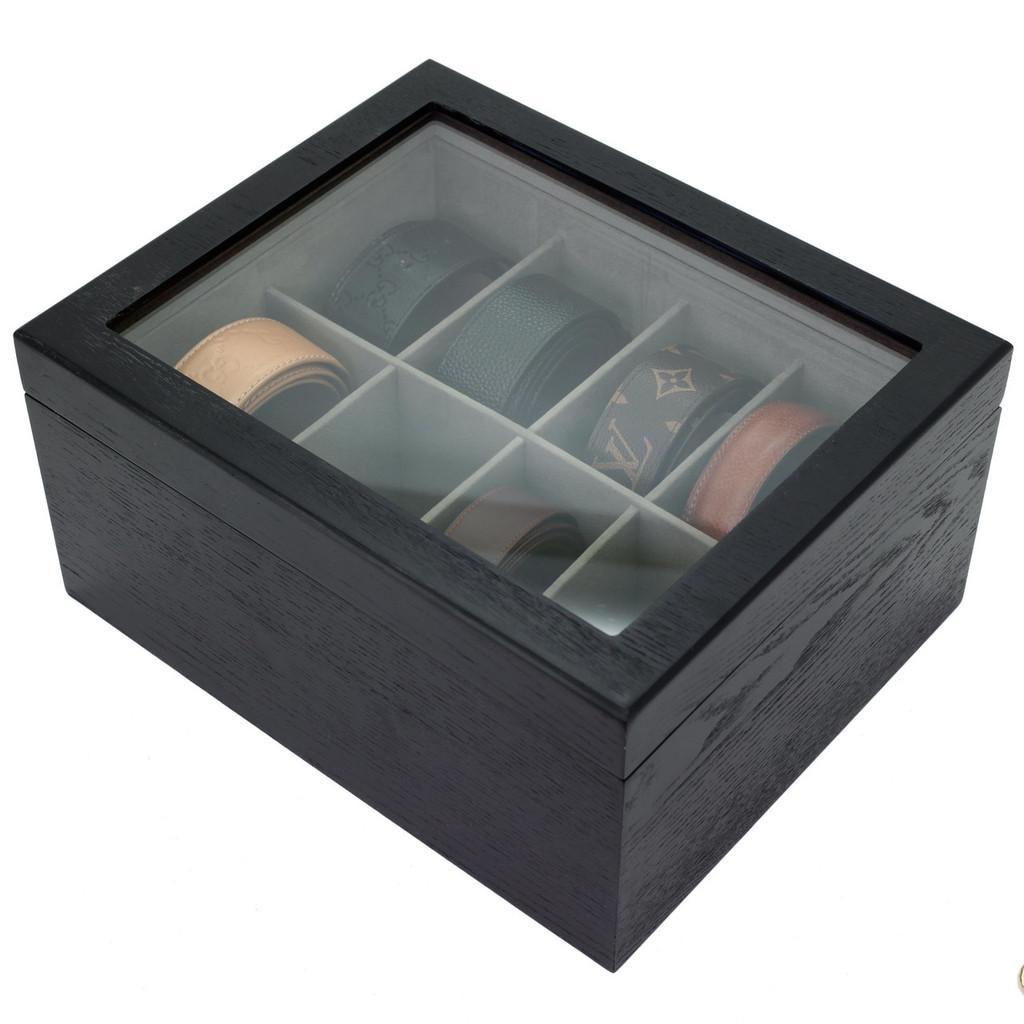 Wood Tie Box | TechSwiss Tie Organizer | Men's Tie Organizer | Men's Wood Tie Case | Elegant Tie Case | TechSwiss TSBX8300BLT | Top