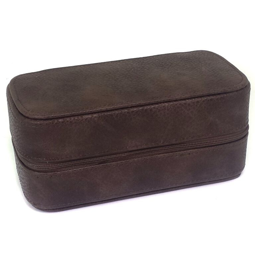 Travel Watch Case Compact for 2 Watches Storage Protection Zipper Brown