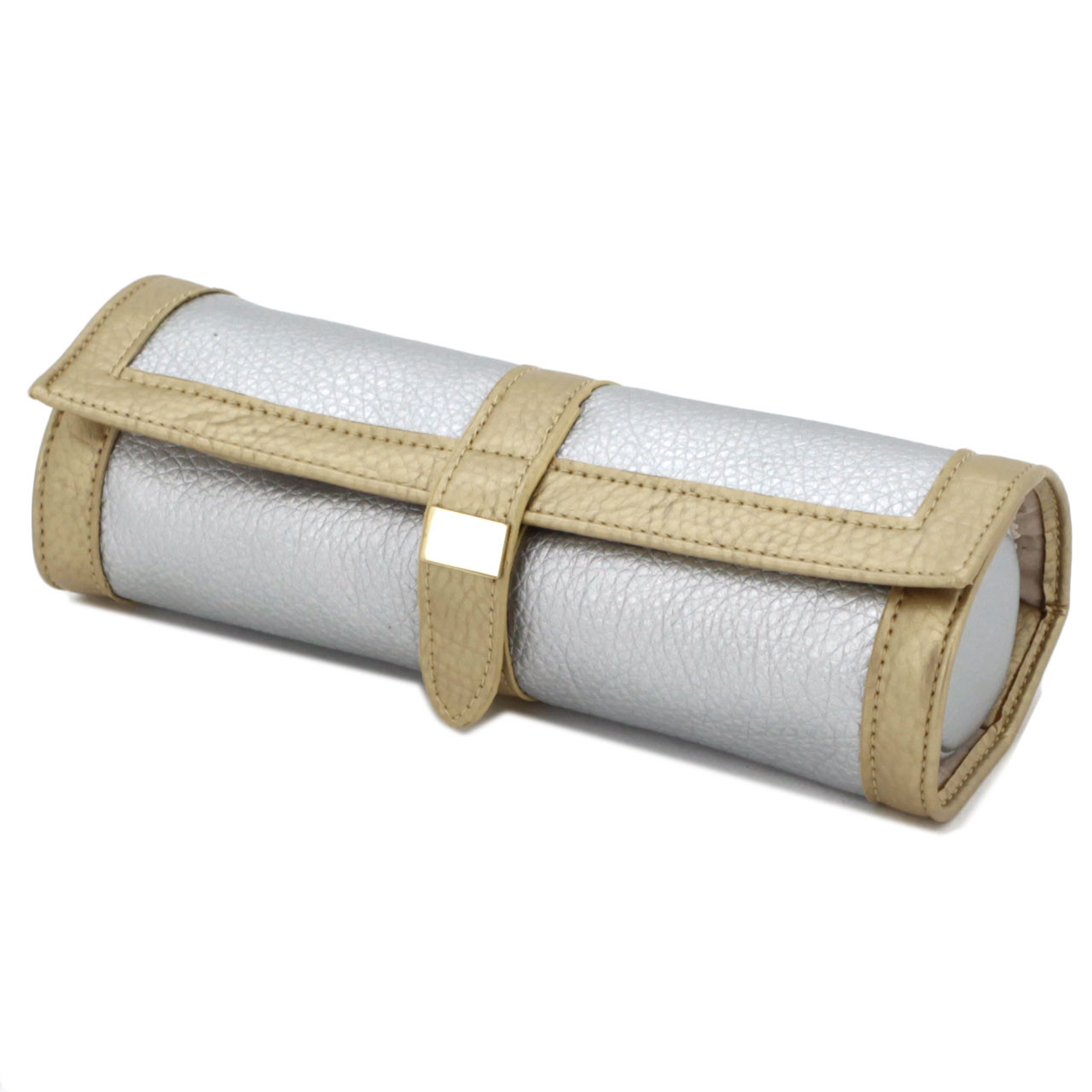 Gold Leather Jewelry Roll Up Travel Case TechSwiss