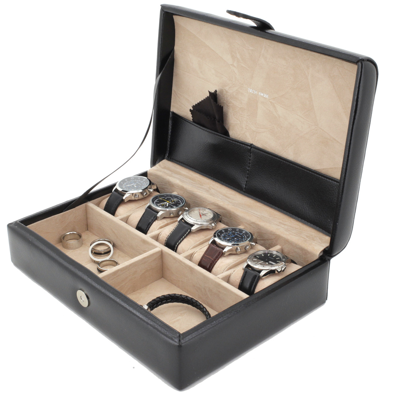 Mens Leather Valet For Watches Rings Keys TechSwiss Organizers