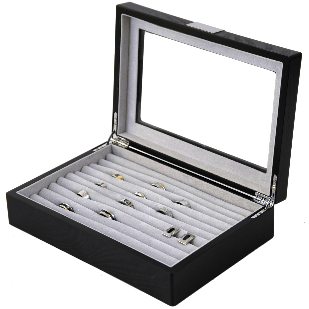 Genial Engravable Ring Cufflink Box Storage Black Wood Engravable