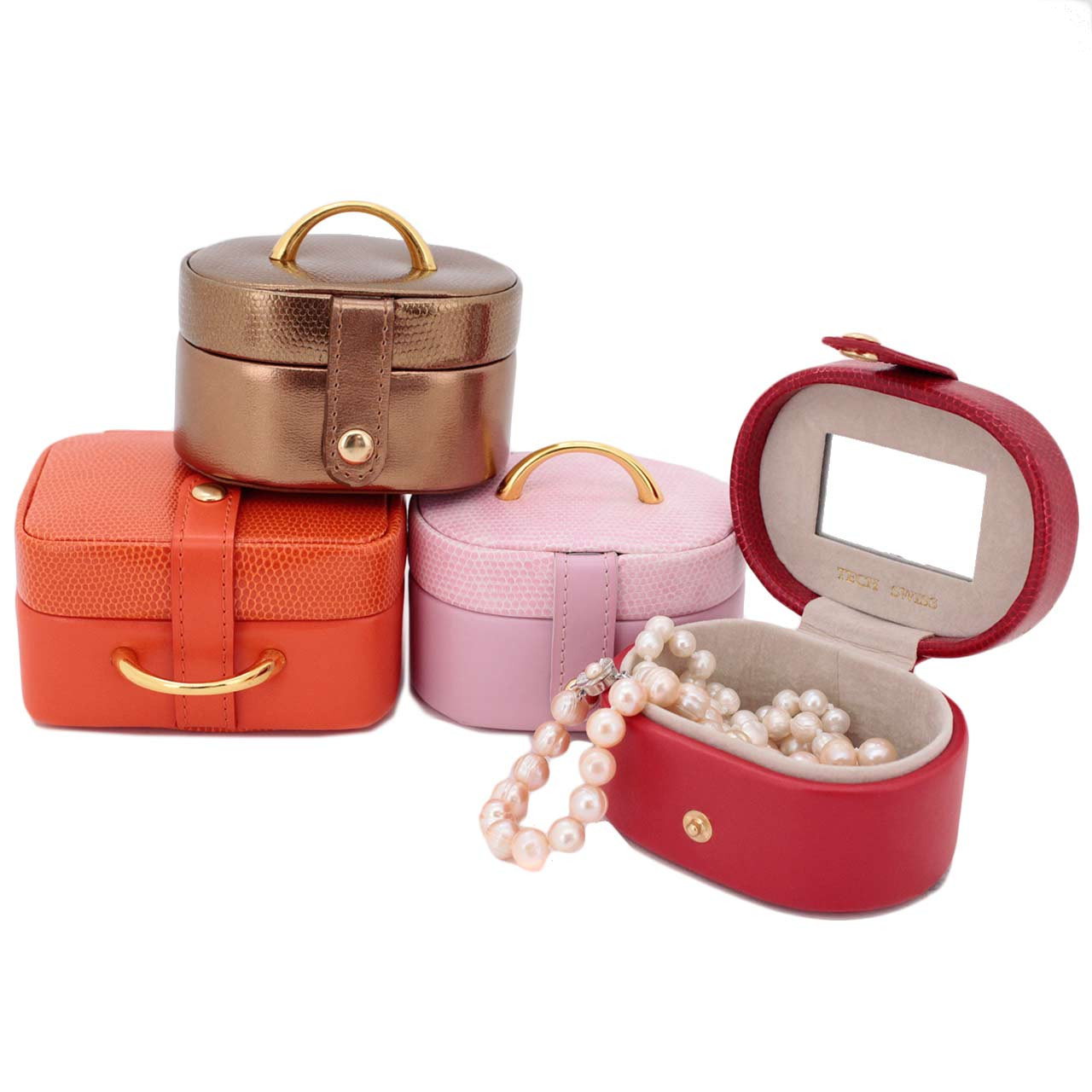 Mini Jewelry Box Set in Pink Red Orange Bronze Leather Gift