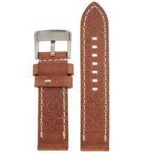 Panerai Style Watch Band Thick Tan Heavy Buckle Inside LEA1553