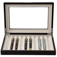 Brown Wood Fountain Pen Case   Mens Luxury Organizers   TechSwiss TSPEN400ESBRN   Open Front View