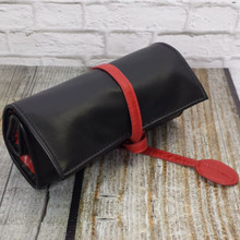 Roll up Watch Case Organizer for Apple Watch Bands Straps Accessories Black/Red