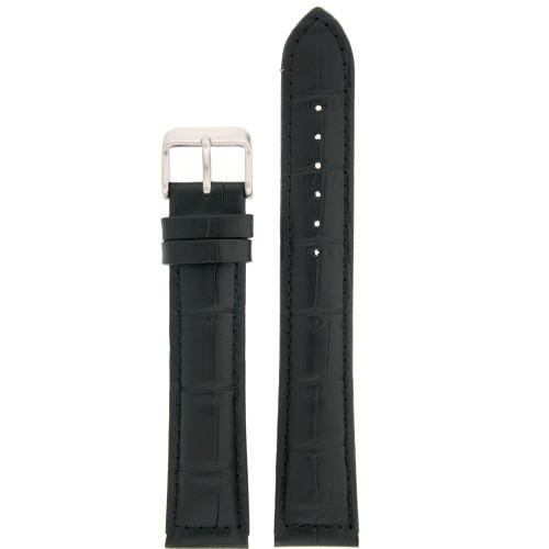 XXL Leather Watch Band in Black Alligator Grain