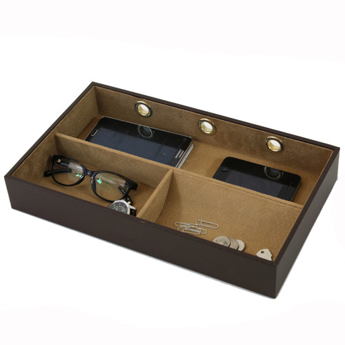 Leather Electronic Valet | Mens Charger Station | Luxury Mens Storage | TechSwiss  TS6904BWN | Side