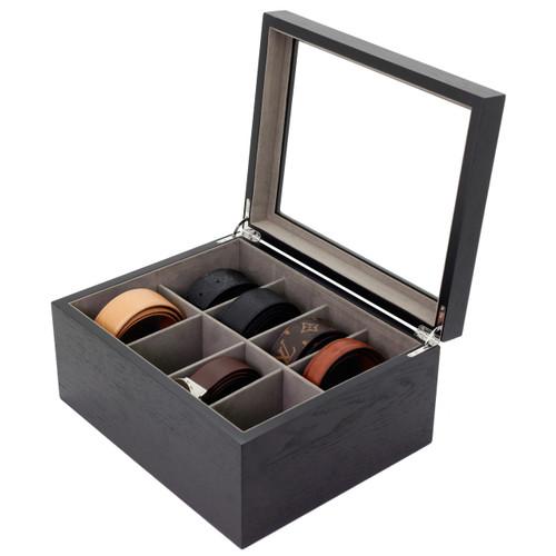 Wood Tie Box | TechSwiss Tie Organizer | Men's Tie Organizer | Men's Wood Tie Case | Elegant Tie Case | TechSwiss TSBX8300BLT | Main