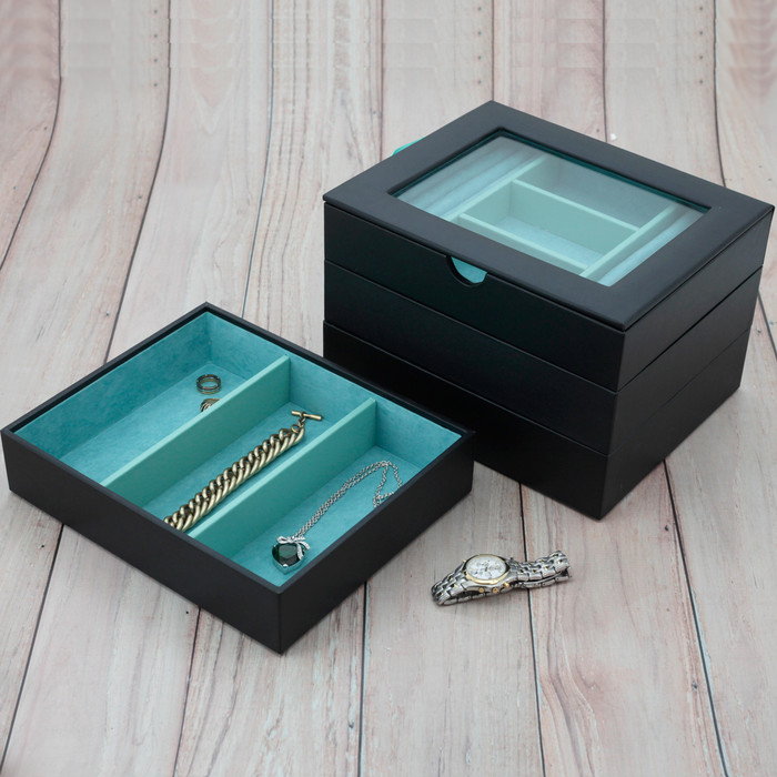 Black Stackable Jewelry Trays Jewelry Leather Trays Jewelry