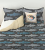 Trout Pattern Fly Fishing duvet bed set.