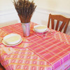 Pink Plaid Horse Pattern Table Cloth