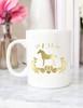 Personalized Damask Horse Gold Foil Coffee Mug