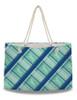 Teal Blue Plaid Horse Pattern Weekender Tote Bag