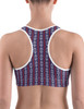 Red White and Blue Striped Horse Bits Pattern Sports Bra