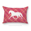 Pink Plaid Trotting Horse Accent Pillow
