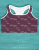 Purple Trotting Horses Pattern Sports Bra