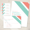 Modern Styled Wedding stationery in coral and mint