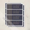 Navy blue and gold colored wedding return address labels