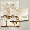 African safari Giraffe wedding invitations set