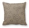 Beige Horse Bits Pattern Equestrian Throw Pillow