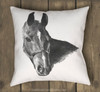 Arabian Horse Head Drawing Equestrian Throw Pillow