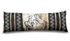Stylish equestrian body pillow with rustic rearing horses and damask pattern.