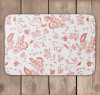 Coral and White Floral pattern with horses equestrian bath mat