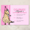 Pink Girl's fifth birthday party invite with a palomino pony theme.