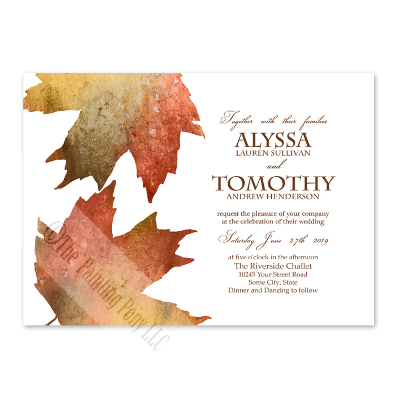 Fall Wedding Maples Leaves Watercolor Invitation (10 pk) - The ...