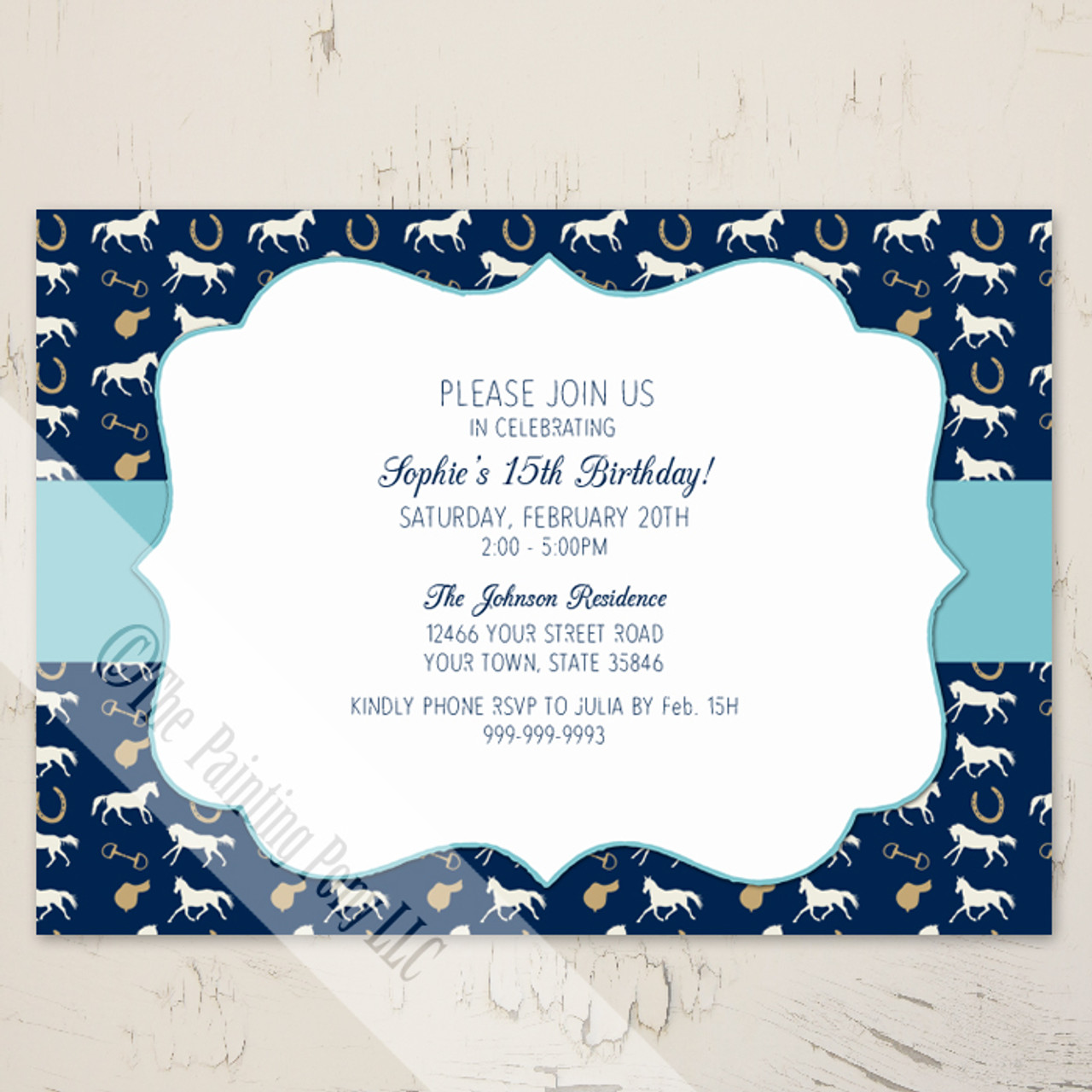 Blue english horse pattern birthday invitation 10 pk the blue english horse pattern birthday invitation 10 pk stopboris